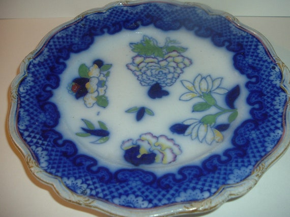 Flow Blue Plate Masons Ironstone Antique