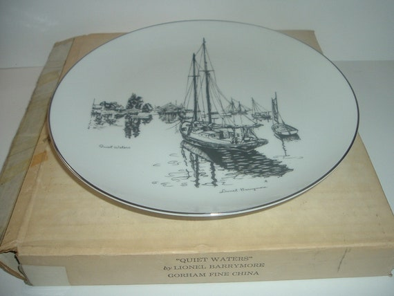 Lionel Barrymore Gorham China Bavaria Quiet Waters Limited Edition Plate in box