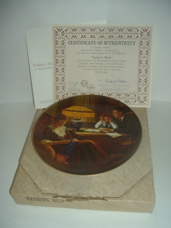 Edwin Knowles Norman Rockwell Father's Help Plate w Box COA 1983