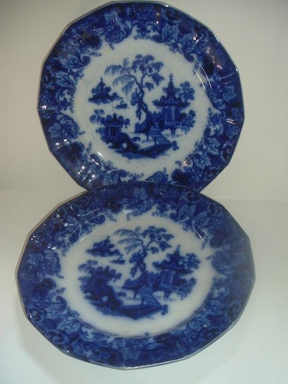 """2 Flow Blue Scinde T Walker 10.5"""" Plates Antique"""