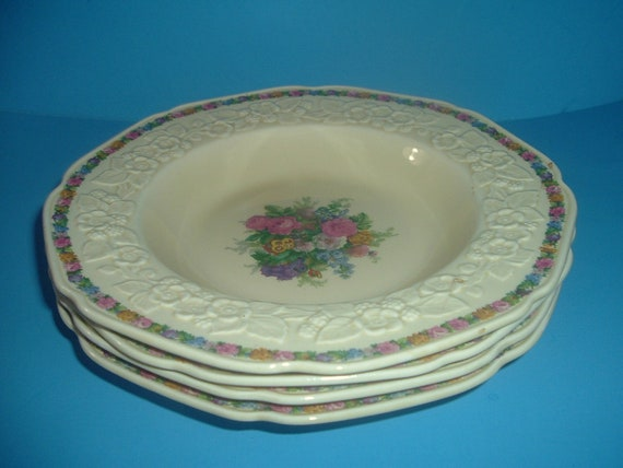 4 Crown Ducal Gainsborough Charm Floral Soup Bowls