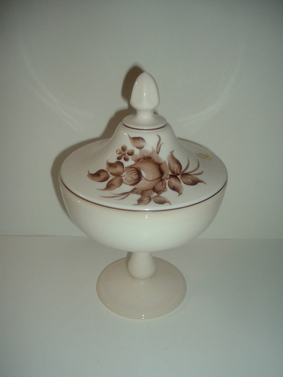 Westmoreland Glass Handpainted Artist Signed Lidded Compote Almond Vintage