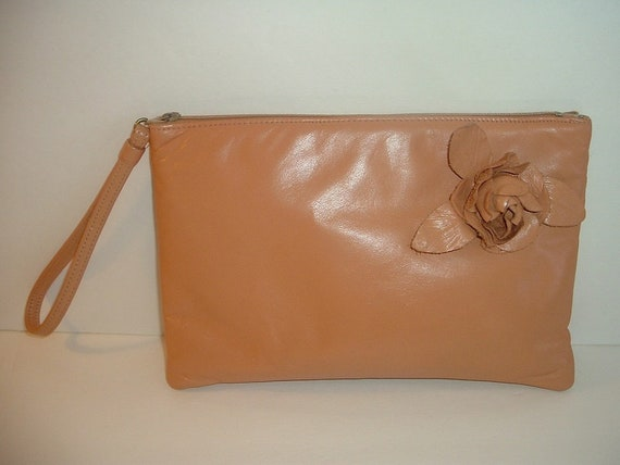 Ruth Saltz Purse Bag Leather with Rose Vintage Evening Clutch