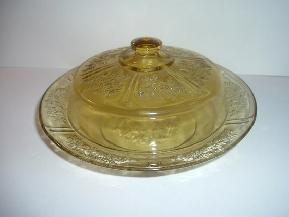 Federal Sharon Cabbage Rose Amber Domed Butter Dish Depression Glass
