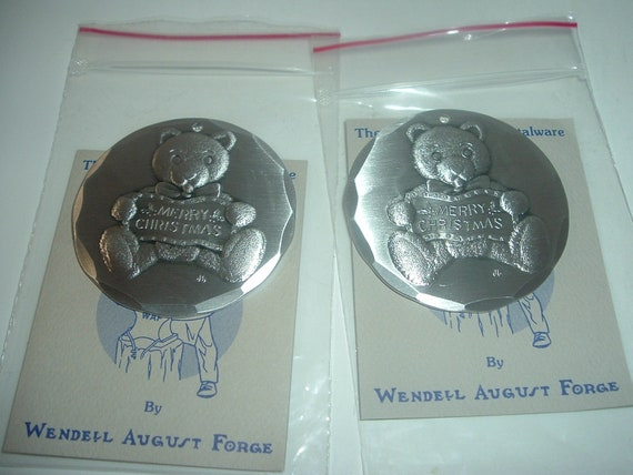 2 Wendell August Forge 1988 Teddy Bear Christmas Ornaments