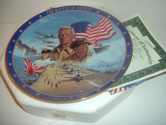 World War II Battle of Midway Plate w Box and COA 1994