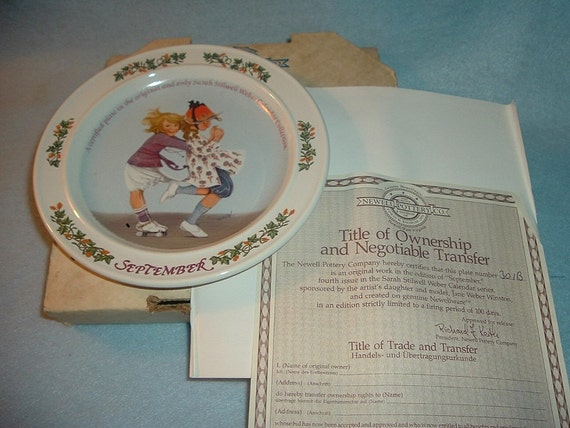 1985 Newell Pottery September by Sarah Stilwell Weber Calendar Collection Plate w Box & COA