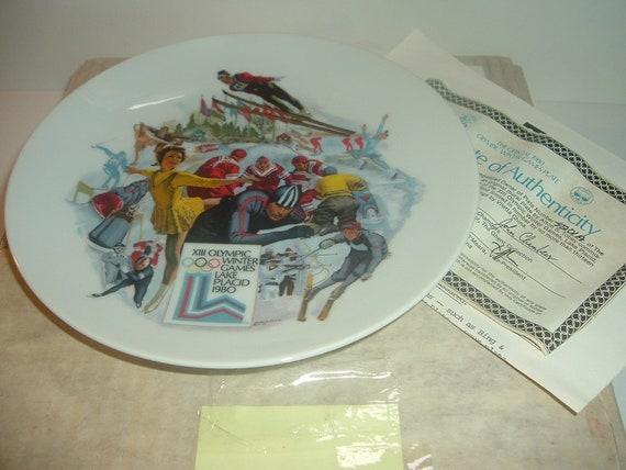 1980 Winter Olympics Lake Placid Plate by Vilette w/ Box COA