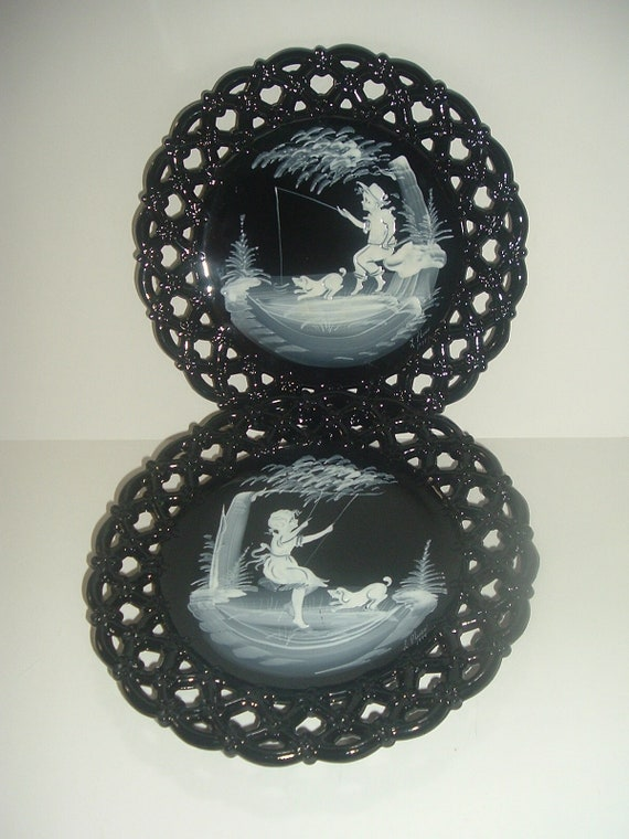 Westmoreland Artist Signed Mary Gregory Plates Black Glass Forget Me Not Border 1970's