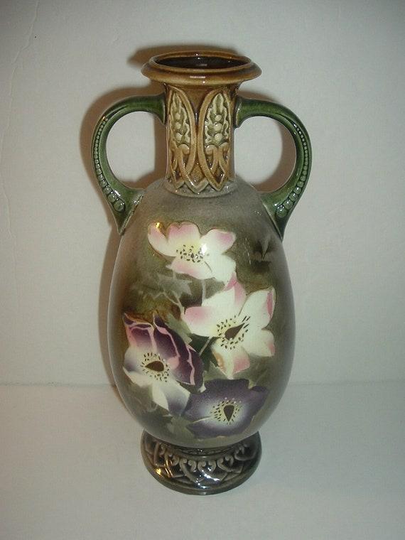 Czechoslovakia Handled Vase Floral Vintage