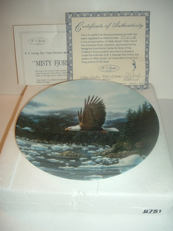 1992 WS George Misty Fjords Eagle plate in foam with COA