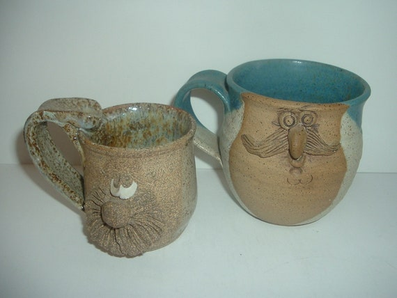 2 Pottery Funny Face Mugs Cups 1 Signed