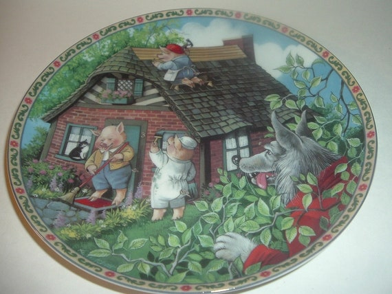 1988 Knowles The Three Little Pigs Once Upon A Time Plate