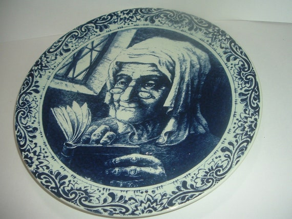 Boch Belgium Large Lady Reading Charger Plate         RIA