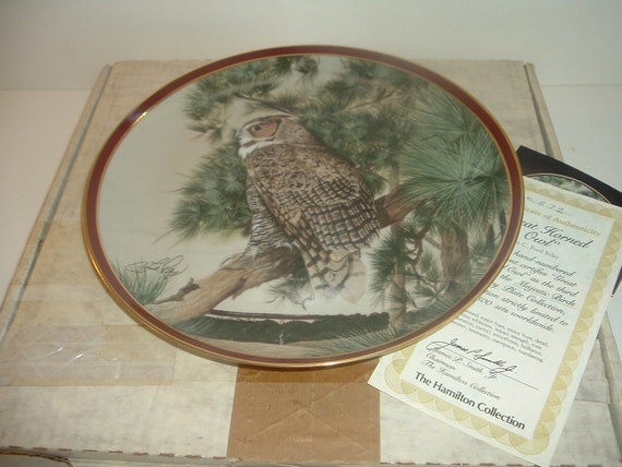 Great Horned Owl Majestic Birds of Prey Plate w/ Box and COA 1983 Hamilton collection