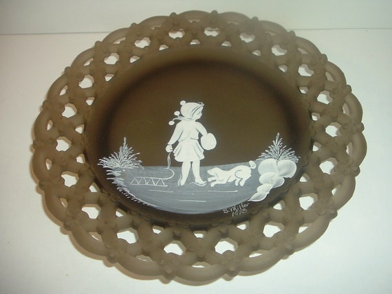 Westmoreland Brown Mist Artist Signed Mary Gregory Plate 1978