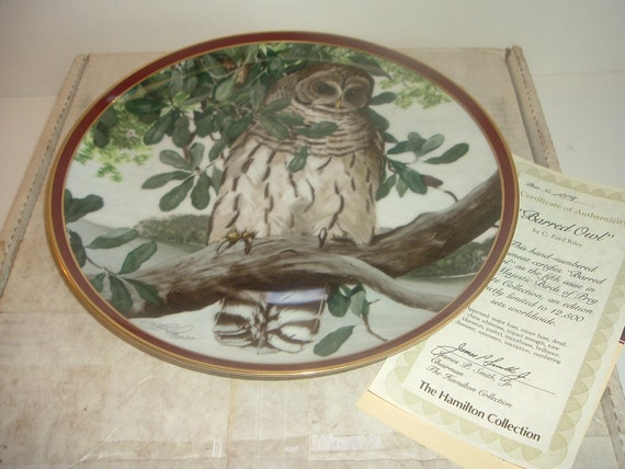 Barred Owl Majestic Birds of Prey Plate w/ Box and COA 1983 Hamilton collection