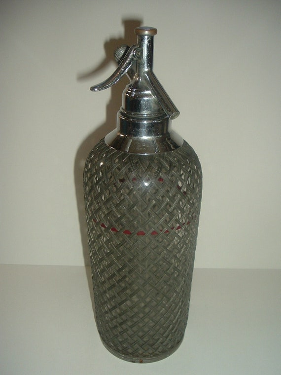 Sparklets New York Seltzer Bottle Glass with Wire Mesh Czechoslovakia