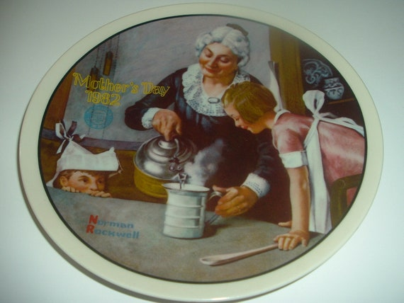 Norman Rockwell Cooking Lesson Mothers Day Plate 1982 Vintage