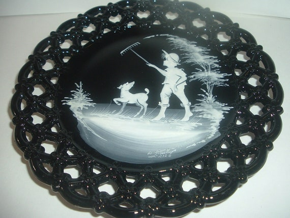 Westmoreland Glass Black with Mary Gregory Boy with Rake and Dog Artist Signed Plate