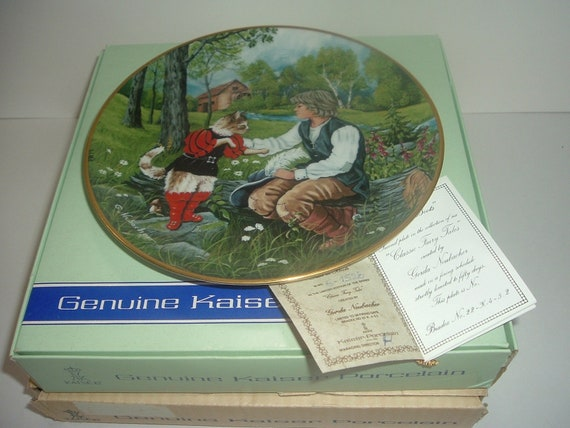 Kaiser Porcelain W Germany Puss In Boots Classic Fairytales Gerda Neubacher Plate box COA