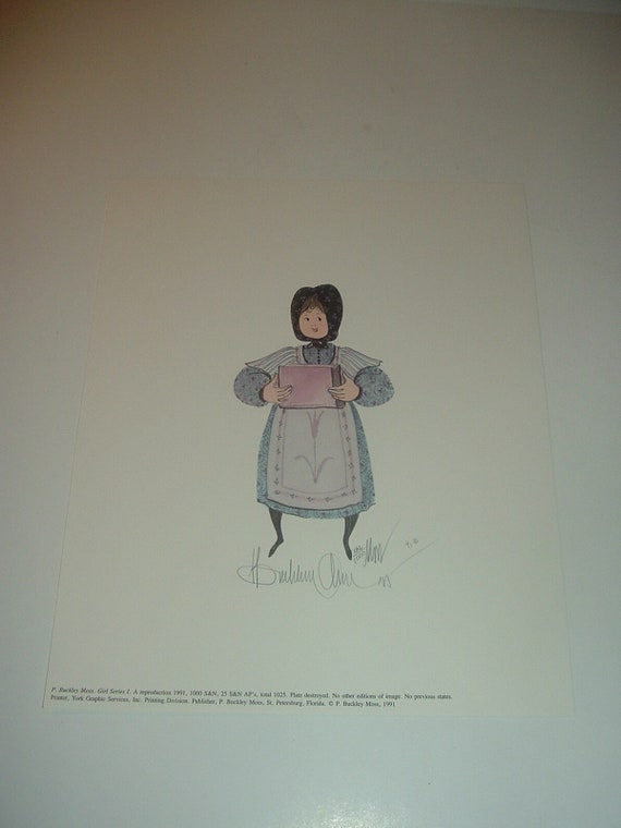 P. Buckley Moss Girl Series Print 186/1000 Pencil Signed Unframed