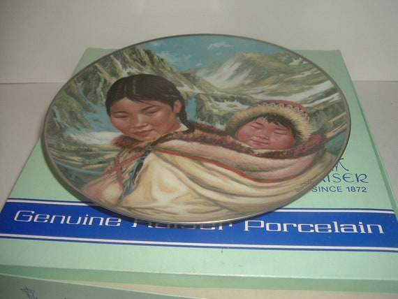 Kaiser Porcelain W Germany Northern Lullaby Mother Child People Midnight Sun Plate Nori Peter