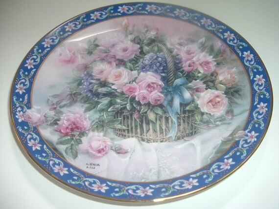 Lena Liu Roses Basket Bouquets First Issue Plate 1992