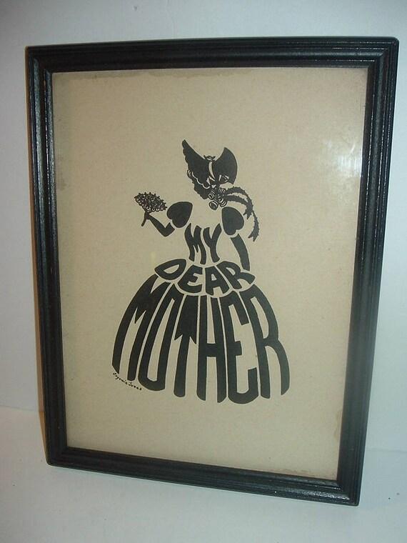 Vintage Eugenie Jones Lady Silhouette My Dear Mother in Skirt Framed Print