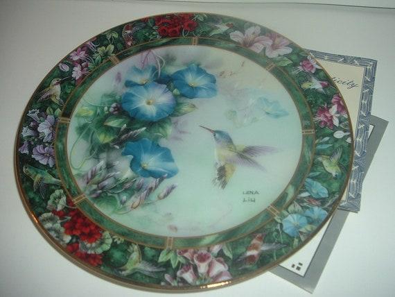 W S George Lena Liu Violet Crowned Hummingbird Plate w COA