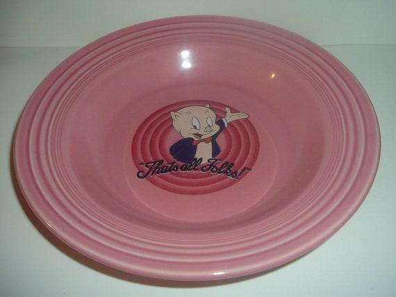 "Homer Laughlin Fiesta Rose Porky Pig Warner Bros 9"" Soup Bowl"