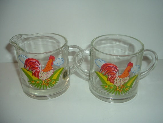 Westmoreland Glass Rooster Decal Cream and Sugar