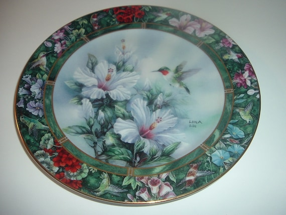 Lena Liu Hummingbird Plate Ruby Throated First Issue
