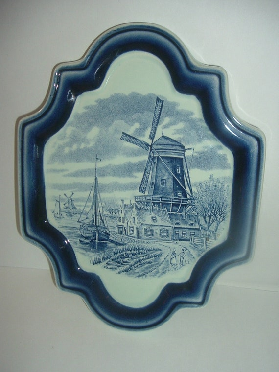 Boch Belgium Sea Port Windmill Plaque or Trivit         RIA