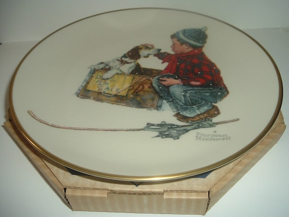 Norman Rockwell Winter A Boy Meets His Dog Plate in box 1971