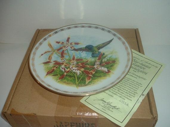 Hamilton Collection Blue Headed Sapphire Hummingbird by Landeberger Plate w Box COA