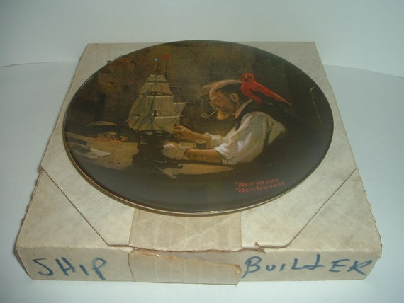 Edwin Knowles Norman Rockwell The Ship Builder Heritage Collection plate with box 1980