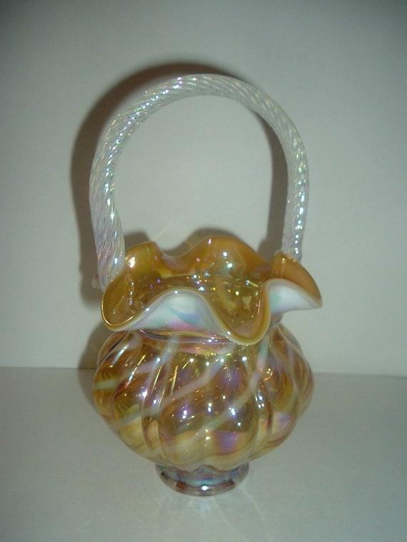 Fenton Opalescent Autumn Gold Glass Basket