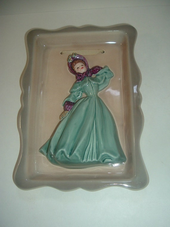 Florence Ceramics Framed Lady Figurine Plaque Green Gown