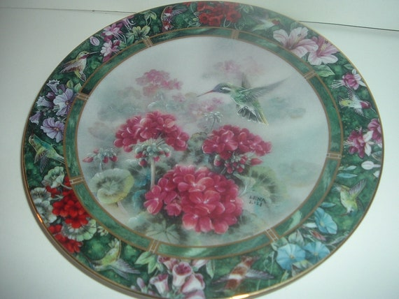 W S George Lena Liu White Eared Hummingbird Plate