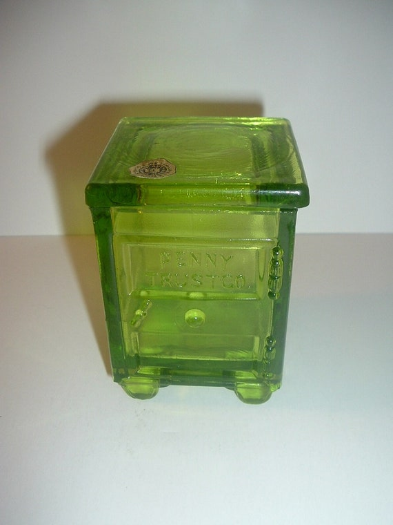 Westmoreland Penny Trust Candy Container in Green Glass