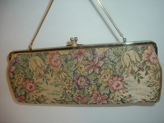 Vintage Harry Levine HL USA Tapestry Clutch Bag Purse
