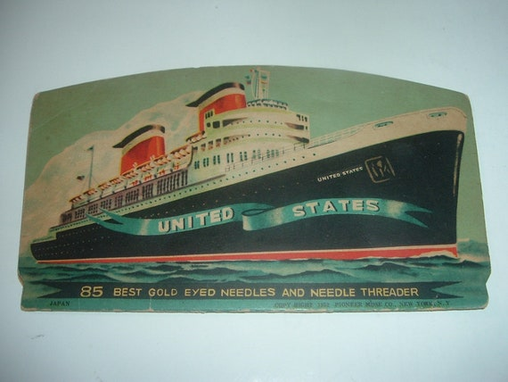 Sewing Needlebook SS United States Cruise Ship 1950's Vintage