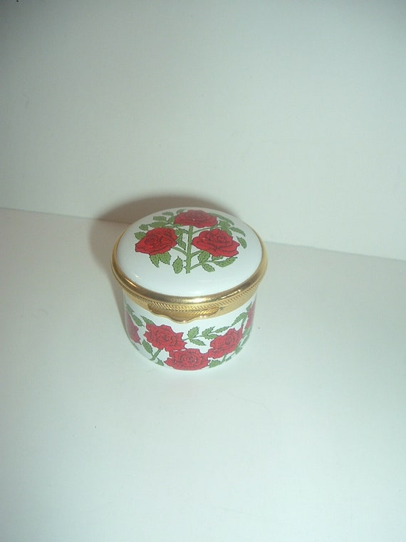 Alastor Enamels Lincoln Electric 1995  Trinket Box Red Roses