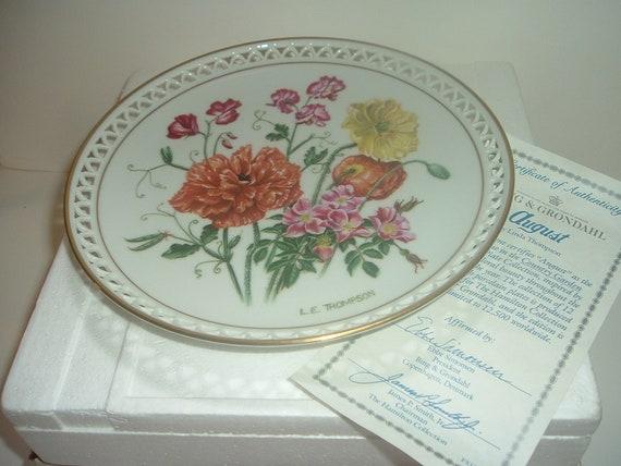 Bing & Grondahl Country Garden August Plate by Linda Thompson w Box COA