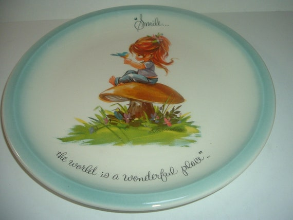 Gigi Collection Retro Plate Smile....the world is a wonderful place 1970's