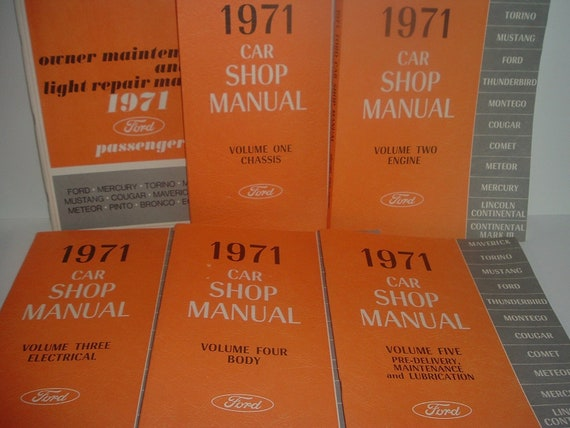 1971 Ford Car Shop Manuals Volumes 1 - 5 and Owner Maintenance Manual