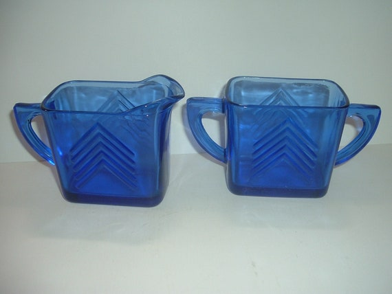 Cobalt Glass Chevron Pattern Cream & Sugar