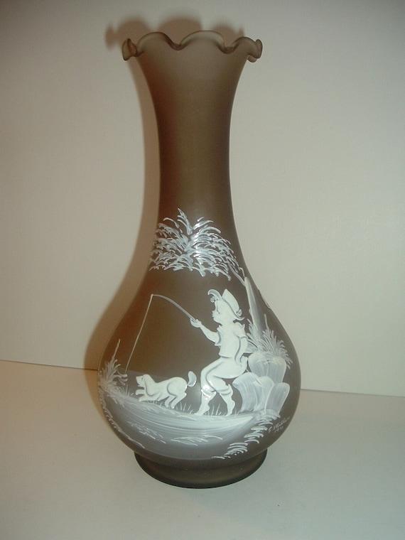 Westmoreland Handpainted Mary Gregory Artist Signed Vase