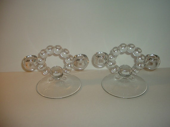 Candlewick Glass Candleholders Pair